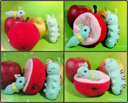 Веселая парочка амигуруми (Червячок и гусеничка с яблоком)