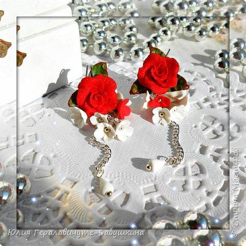 Серьги с красными розами фото 1