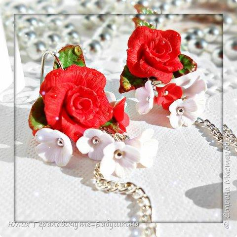 Серьги с красными розами фото 2