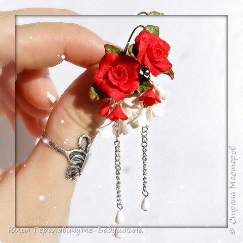 Серьги с красными розами фото 3