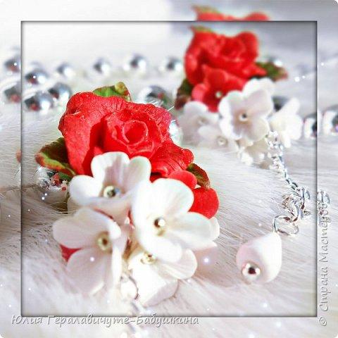 Серьги с красными розами фото 4