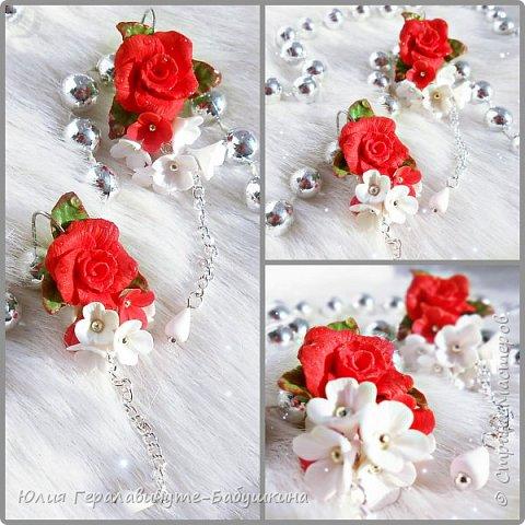 Серьги с красными розами фото 5
