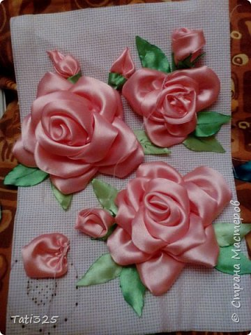 "Картина ""Розы из лент"" фото 2"