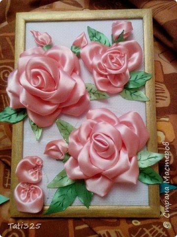 "Картина ""Розы из лент"" фото 1"
