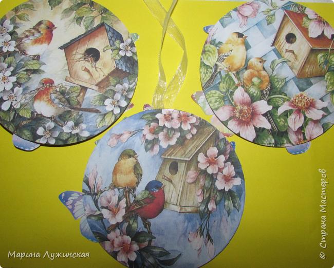 """Всю  Масленную недельку что-то вытворяли с детками...  Не желаете взглянуть http://stranamasterov.ru/node/1010591 ? А сегодня, в предпоследний день решили сделать вот такие простенькие весенние  подвески из сд-дисков... у нас уже во всю цветут деревья, поют птички, и мы видели уже парочку летающих бабочек - наступает весна. Этот прекрасный весенний момент """"запечатлили"""" на своих подвесочках... будем в течении года смотреть на них и вспоминать свою масленичную недельку... фото 5"""