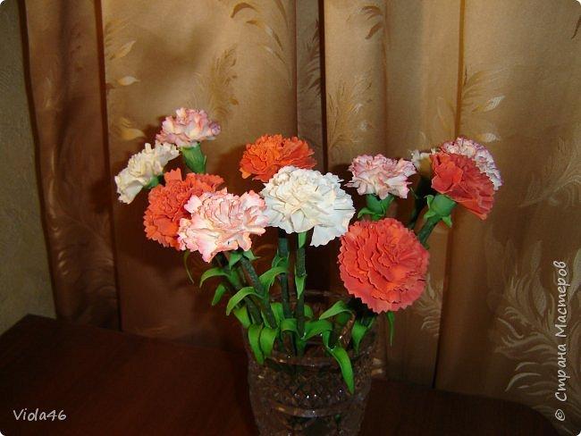 Гвоздики  и розы из холодного фарфора фото 1