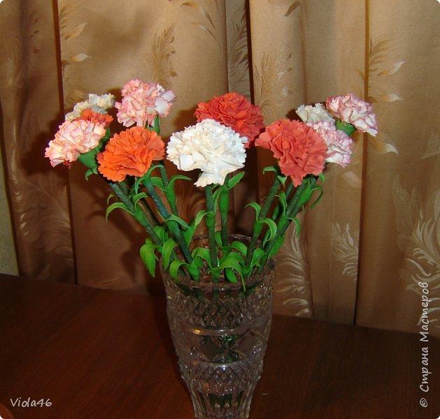 Гвоздики  и розы из холодного фарфора фото 2