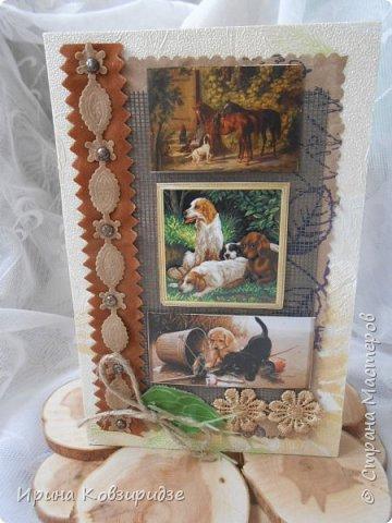 """Представляю очередные работы из серии """"Собаки"""". Это """"Дамы, лошади, собаки"""" Сделано по тому же принципу, что и Мастер-класс по открытке """"Собаки""""(у меня) http://stranamasterov.ru/node/1009036 фото 12"""
