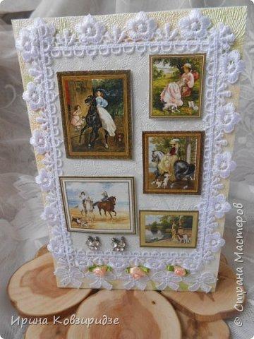 """Представляю очередные работы из серии """"Собаки"""". Это """"Дамы, лошади, собаки"""" Сделано по тому же принципу, что и Мастер-класс по открытке """"Собаки""""(у меня) http://stranamasterov.ru/node/1009036 фото 1"""