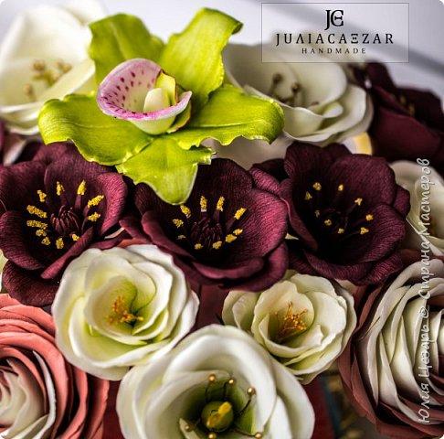 Орхидея из фоамирана Двухцветная роза из фоамирана Шоколадный космос из фоамирана Эустома их фоамирана фото 1