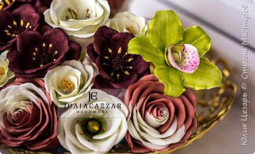 Орхидея из фоамирана Двухцветная роза из фоамирана Шоколадный космос из фоамирана Эустома их фоамирана фото 6