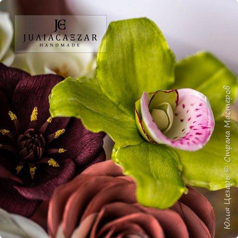 Орхидея из фоамирана Двухцветная роза из фоамирана Шоколадный космос из фоамирана Эустома их фоамирана фото 7