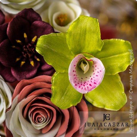 Орхидея из фоамирана Двухцветная роза из фоамирана Шоколадный космос из фоамирана Эустома их фоамирана фото 8