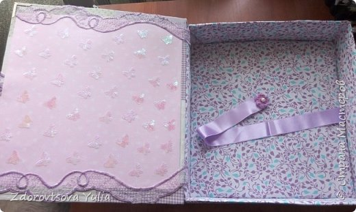 Мой первый альбом для любимой племянницы-крестницы в подарок. начну с коробочка. Сразу извините за  качество фото, сделала на мобильный) фото 3