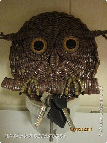 Здравствуйте жители СМ!           Поздравляю женщин с прошедшим праздником  8 МАРТА!  Сегодня у меня к показу совы. Давно чесались ручки сплести  сов ключниц. но не было у меня крючочков для ключей. Пришлось обойтись проволокой. фото 6