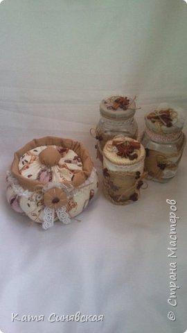 Вот такие баночки на кухню сделала в дополнение к текстильной корзинке маме на ДР. фото 15