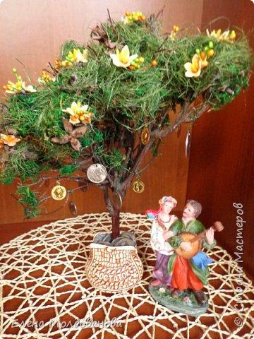 Дерево натуральное, зелень - туя, мох, сезаль, цветы - фом, монеты- настоящие (кроме 5 шт.). Размер дерева - 30 см. фото 1