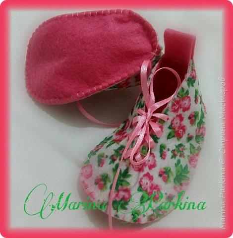 Хочу сегодня поделиться маленькой обувью Сделала пинетки из фетра для малышей. Осталась очень довольна своей работой. До сих пор не налюбуюсь)))  Надеюсь и вам понравится фото 4