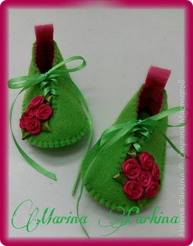 Хочу сегодня поделиться маленькой обувью Сделала пинетки из фетра для малышей. Осталась очень довольна своей работой. До сих пор не налюбуюсь)))  Надеюсь и вам понравится фото 1