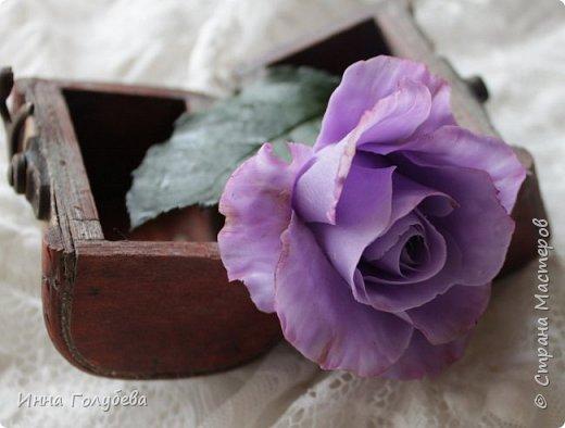Лавандовые розы из холодного фарфора. фото 4