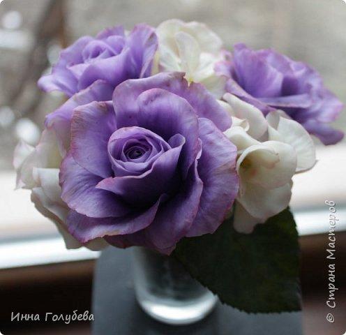 Лавандовые розы из холодного фарфора. фото 10