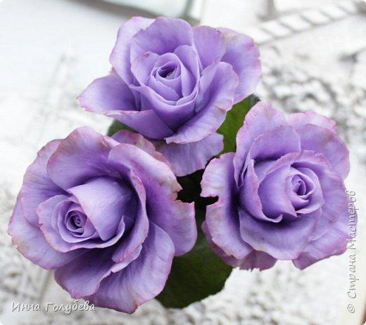 Лавандовые розы из холодного фарфора. фото 8