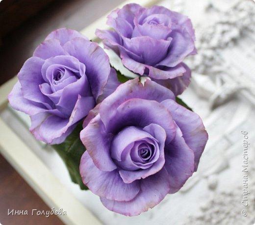 Лавандовые розы из холодного фарфора. фото 12