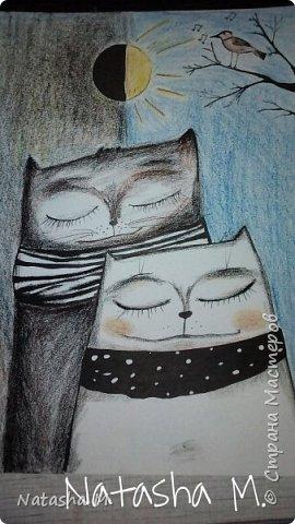 Привет Всем! Еще один пост, как итог за полгода, все мои акварельные коты, и не только. Приятного просмотра! Рисунки формата А3 и А4.  Масляными карандашами.  фото 3