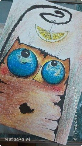 Привет Всем! Еще один пост, как итог за полгода, все мои акварельные коты, и не только. Приятного просмотра! Рисунки формата А3 и А4.  Масляными карандашами.  фото 30