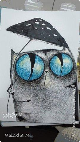 Привет Всем! Еще один пост, как итог за полгода, все мои акварельные коты, и не только. Приятного просмотра! Рисунки формата А3 и А4.  Масляными карандашами.  фото 31
