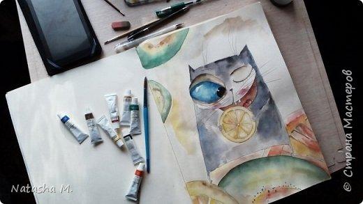 Привет Всем! Еще один пост, как итог за полгода, все мои акварельные коты, и не только. Приятного просмотра! Рисунки формата А3 и А4.  Масляными карандашами.  фото 16