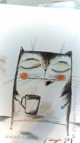 Привет Всем! Еще один пост, как итог за полгода, все мои акварельные коты, и не только. Приятного просмотра! Рисунки формата А3 и А4.  Масляными карандашами.  фото 18