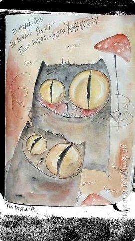 Привет Всем! Еще один пост, как итог за полгода, все мои акварельные коты, и не только. Приятного просмотра! Рисунки формата А3 и А4.  Масляными карандашами.  фото 27
