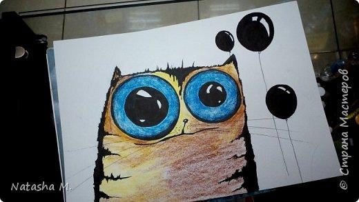 Привет Всем! Еще один пост, как итог за полгода, все мои акварельные коты, и не только. Приятного просмотра! Рисунки формата А3 и А4.  Масляными карандашами.  фото 21