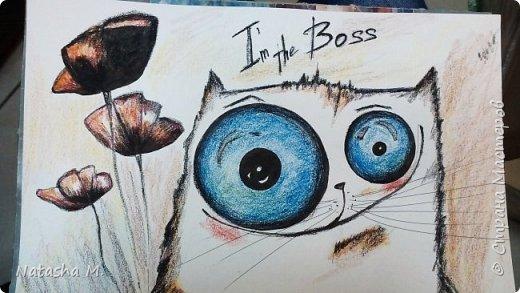 Привет Всем! Еще один пост, как итог за полгода, все мои акварельные коты, и не только. Приятного просмотра! Рисунки формата А3 и А4.  Масляными карандашами.  фото 1