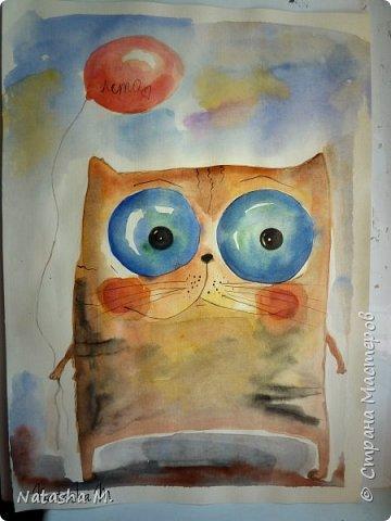 Привет Всем! Еще один пост, как итог за полгода, все мои акварельные коты, и не только. Приятного просмотра! Рисунки формата А3 и А4.  Масляными карандашами.  фото 23