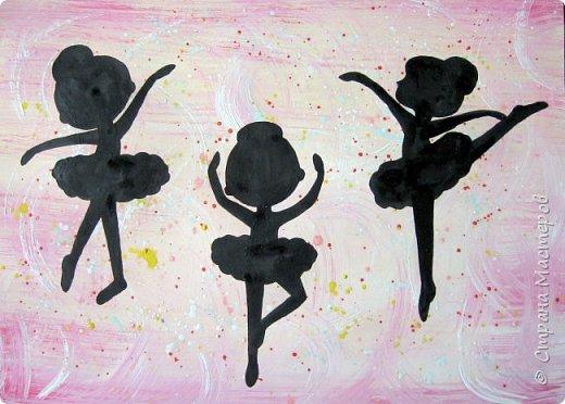 """К 8 марта в этом году рисовали вместо букетов, вот таких танцовщиц-балеринок. Идею увидела здесь:  Dancing Ballerinas Wall Art (шаблоны балеринок  можно найти, задав в поисковике """"шаблоны маленьких балеринок-танцовщиц""""). Предлагаю свои упрощенные вариации на эту тему, подбирала доступный материал для самостоятельной работы 5-ти леток. фото 8"""