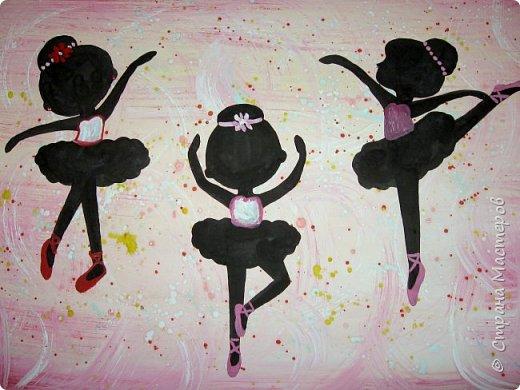 """К 8 марта в этом году рисовали вместо букетов, вот таких танцовщиц-балеринок. Идею увидела здесь:  Dancing Ballerinas Wall Art (шаблоны балеринок  можно найти, задав в поисковике """"шаблоны маленьких балеринок-танцовщиц""""). Предлагаю свои упрощенные вариации на эту тему, подбирала доступный материал для самостоятельной работы 5-ти леток. фото 9"""
