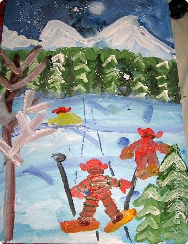 Рисовали еще в январе, но некогда было выложить работы. Первая работа моя, дальше детские (5-ти летки). фото 13