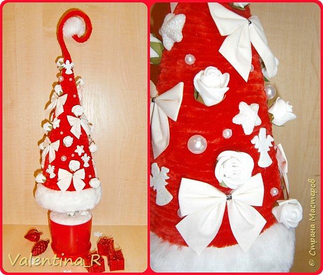 Ёлка выполнена из пряжи и декоративных украшений. Подарок для хороших друзей. фото 1