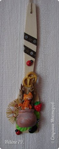 Здравствуйте, дорогие соседи!!!   Украсила лопаточки на  весенний праздник, получился декор-оберег для кухни.   №1 фото 4