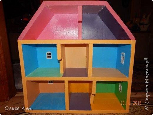 Вот такой кукольный домик для свинки Пеппа я сделала для своей дочери. Размер домика 60*20*60 см. фото 6