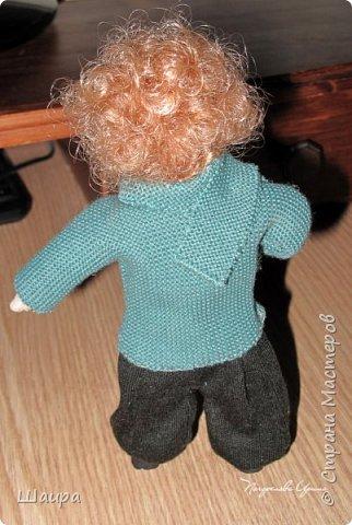Интерьерная кукла-мальчик. Рост 19 см. На проволочном каркасе. Самостоятельно стоит. Ручки, ножки гнутся.   фото 9