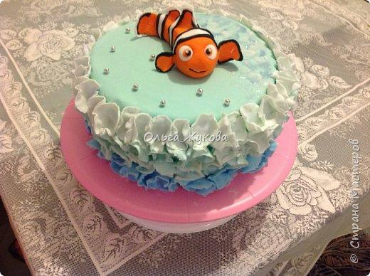 """Доброго времени суток всем! Хочу показать еще один торт, который я испекла на день рождения.  Тортик детский по мотивам мультфильма """"В поисках Немо"""". фото 1"""