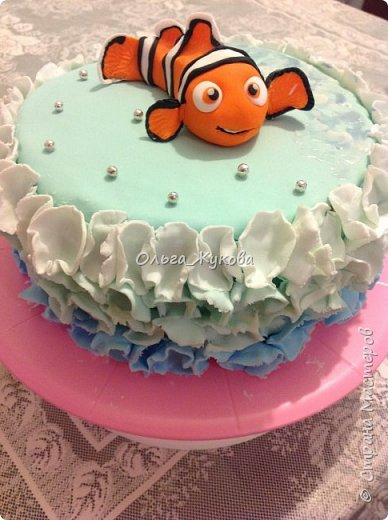 """Доброго времени суток всем! Хочу показать еще один торт, который я испекла на день рождения.  Тортик детский по мотивам мультфильма """"В поисках Немо"""". фото 2"""