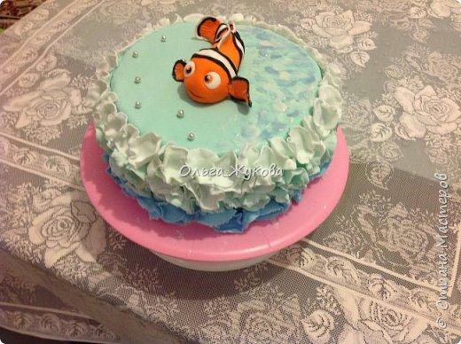 """Доброго времени суток всем! Хочу показать еще один торт, который я испекла на день рождения.  Тортик детский по мотивам мультфильма """"В поисках Немо"""". фото 3"""
