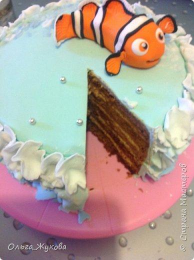 """Доброго времени суток всем! Хочу показать еще один торт, который я испекла на день рождения.  Тортик детский по мотивам мультфильма """"В поисках Немо"""". фото 4"""
