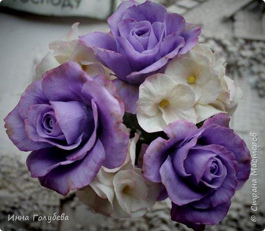 Лавандовые розы из холодного фарфора. фото 13