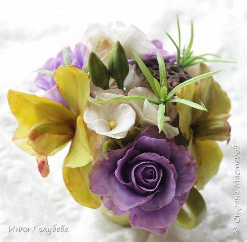 Лавандовые розы из холодного фарфора. фото 9