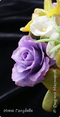 Лавандовые розы из холодного фарфора. фото 6